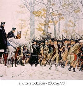 General George Washington (left) with his army at Valley Forge, Pennsylvania during the winter of 1777- 1778, from the Valley Forge Historical Society
