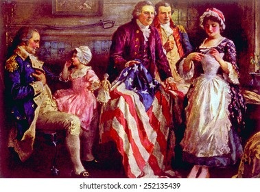 General George Washington, Major George Ross, Robert Morris, Betsy Ross with the first American flag, approved by Congress on June 14, 1777