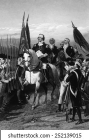 General George Washington takes command of the Continental Army, July 3, 1775