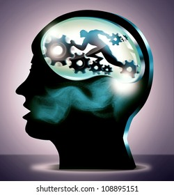 General Medical or Science and Career Concept illustration. 3d silhouette head of person in spotlight with running man and gears.