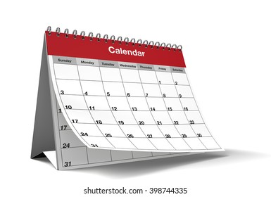 A general monthly calendar's page while it's turning on isolated white background with drop shadow. 3D Rendering.