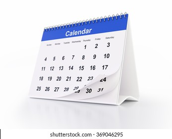 General monthly desktop calendar with curled pages. The calendar is blue in colour and it is isolated on white background. Clipping path is included.