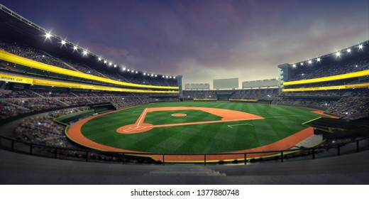 General view of illuminated baseball stadium and playground from the grandstand, modern public sport illuminated building 3D render background