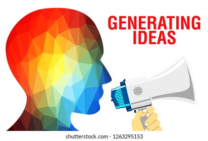 Generating ideas concept background. Generating ideas head with Creative idea text, 3D rendering. Creative Process, Ideas Generation or Creativity illustration concept.  Mechanism of generating ideas