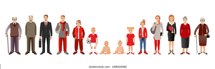 Generation of men and woman from infants to seniors. Baby, child, teenager, student, business men, business woman, adult, senior man and senior woman.