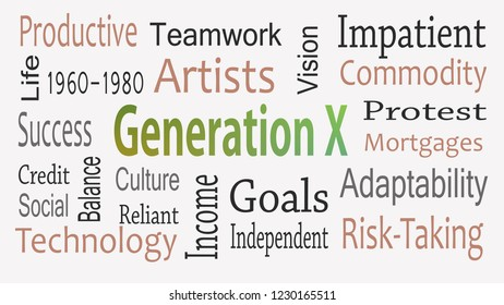 Generation X word cloud concept with great terms such as now