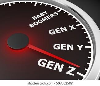 Generation X Y Z Speedometer Words 3d Illustration rendering