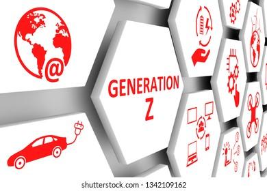 GENERATION Z concept cell background 3d illustration