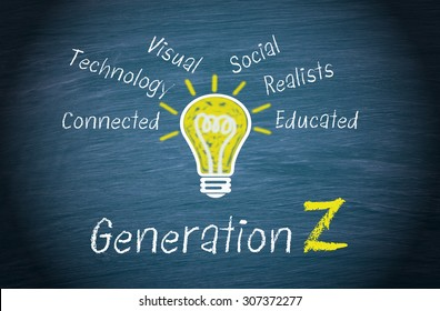 Generation Z - Marketing and targeting concept with light bulb on blue background