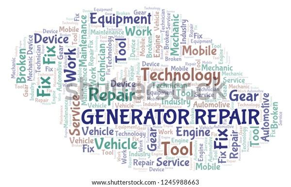 Generator Repair Word Cloud Stock Illustration 1245988663