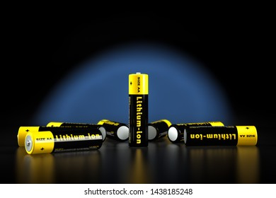 Generic AA batteries with the label 'Lithium Ion' - 3D Rendering