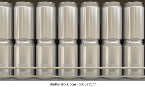 Generic aluminum cans in grocery store. Soda or beer on supermarket shelf. Modern recycling packaging. 3D rendering