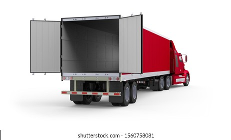 Generic American red semi truck with semi trailer with opened back doors from the back right view, photo realistic isolated 3D illustration on the white background.