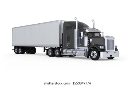 Generic American sleeper semi truck with refrigerated semi trailer from the front right side, photo realistic isolated 3D illustration on the white background.