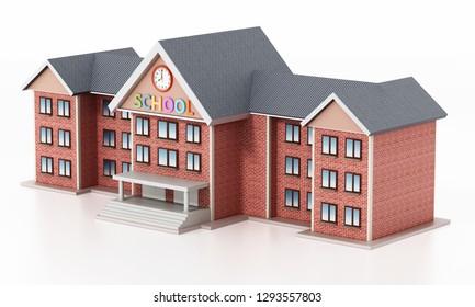 Generic basic design school building. 3D illustration.