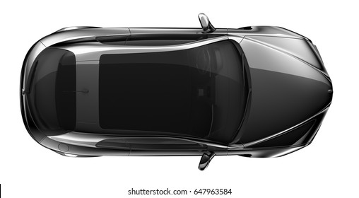 Generic black car - top view 3D render