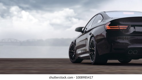 Generic black sports car, rear view (with grunge overlay), tail lights detail - 3d illustration