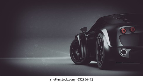 Generic black sports car rear detail (with grunge overlay), brand less - 3d illustration