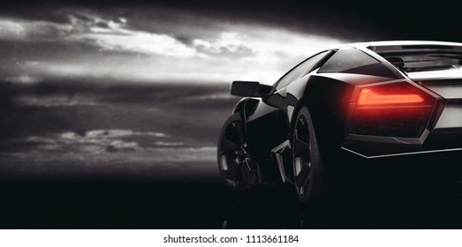 Generic black sports car (with grunge overlay), led tail lights detail - 3d illustration