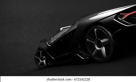 Generic black sports car (with grunge overlay), close up detail - 3d illustration