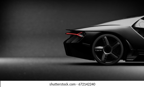 Generic black sports car (with grunge overlay), tail lights detail - side view - 3d illustration