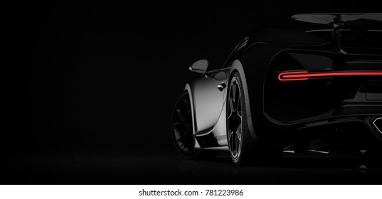 Generic black sports car (with grunge overlay), tail lights detail, rear view - 3d illustration