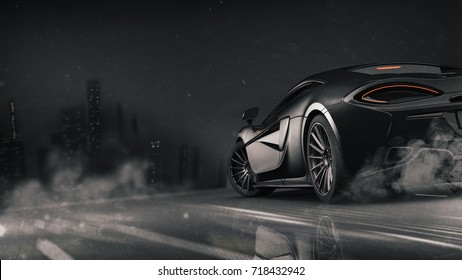 Generic brandless black car near city - rear view (with dust/grunge overlay) - 3d illustration