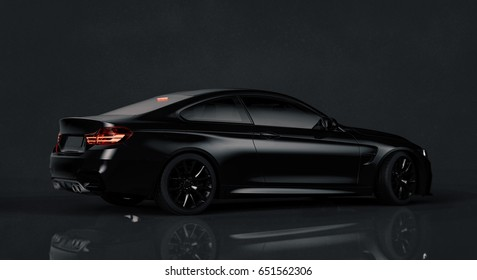 Generic brandless black car - side view (with grunge overlay) - 3d illustration