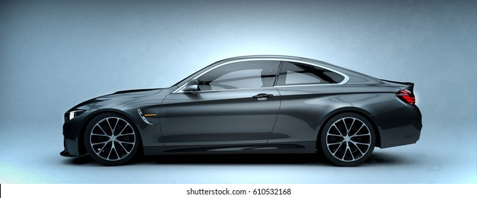 Generic brandless gray car - side view (with grunge overlay) - 3d illustration