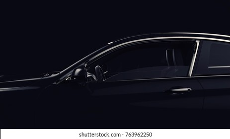 Generic brandless luxury car closeup detail (drivers side view) - 3d illustration