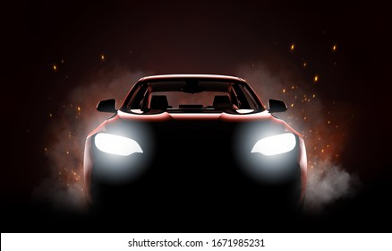 Generic and brandless modern sport car with fire and smoke: 3D illustration