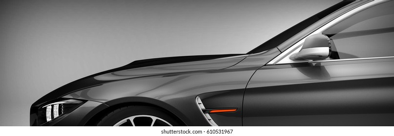 Generic brandless sports car closeup detail (with grunge overlay) - 3d illustration