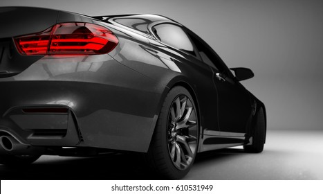 Generic brandless sports car detail (with grunge overlay) - 3d illustration