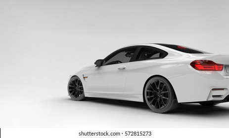 Generic brandless white car - rear side view (with overlay) - 3d illustration