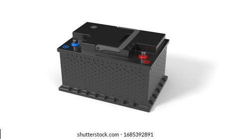 generic car battery. 3d illustration isolated on white