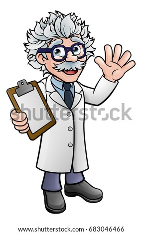 generic cartoon scientist professor wearing lab stock illustration