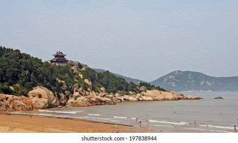 generic chinese landscape - temple on a hill overlooking the sea and the beach, stylized and filtered to look like an oil painting. Location: Putuoshan.