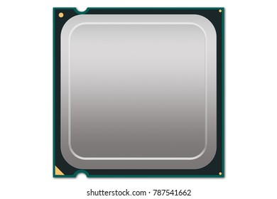Generic CPU Illustration - Illustration depicting a generic CPU package with blank surface and white background.