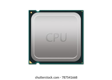 Generic CPU Illustration - Labeled - Illustration depicting a labeled generic CPU package with on white background.