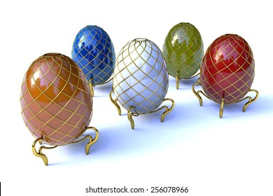Generic decorative jewelry (faberge-type) easter eggs. High quality computer-generated image with HDRI lighting.