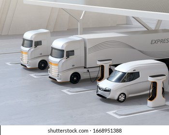 Generic design Heavy Electric Trucks charging at Public Charging Station with roof-mounted solar panels. 3D rendering image.