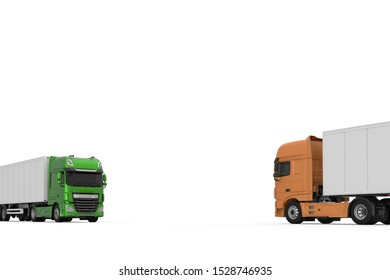 Generic eco-frendly green semi truck with semi trailer in opposite to orange model photo realistic isolated 3D Illustration.