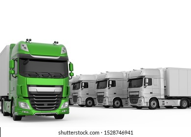 Generic eco-frendly green semi truck among monochrome grey trucks with semi trailers photo realistic isolated 3D Illustration.