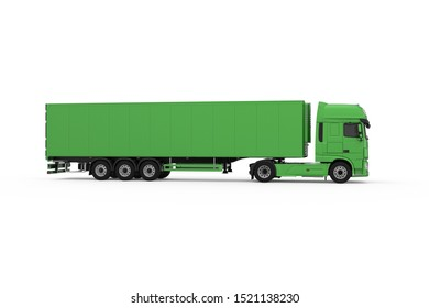 Generic eco-frendly green truck with semi trailer photo realistic isolated 3D Illustration - right view.