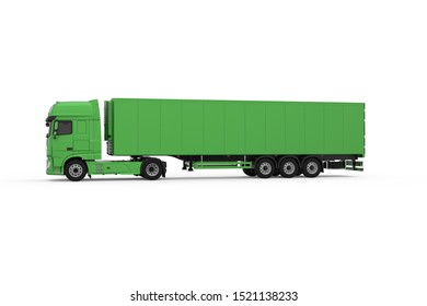 Generic eco-frendly green truck with semi trailer photo realistic isolated 3D Illustration - left view.