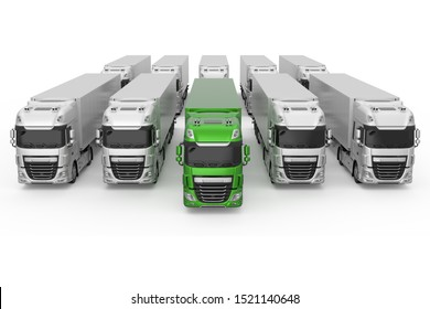 Generic eco-frendly green truck with semi trailer among monochrome grey models photo realistic isolated 3D Illustration - front high angle view.