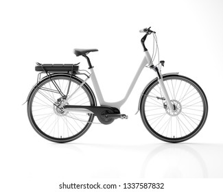 Generic electric bicycle e-bike isolated on white background 3d illustration