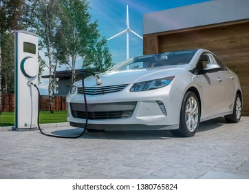 generic electric car charging at home in front of garage 3d illustration