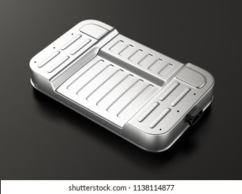 Generic electric vehicle battery pack on gray background. 3D rendering image.