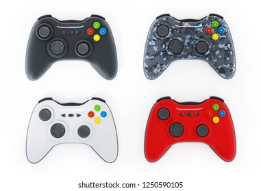 Generic game controllers isolated on white background. 3D illustration.